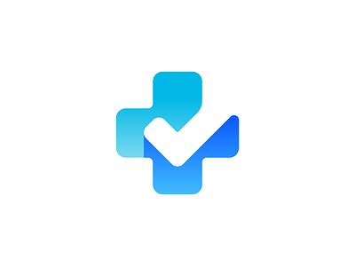 Plus + Checkmark Logo Design clever blue signature sign verify checkmark check cross plus negative space ui icons mark branding brand identity design icon logo