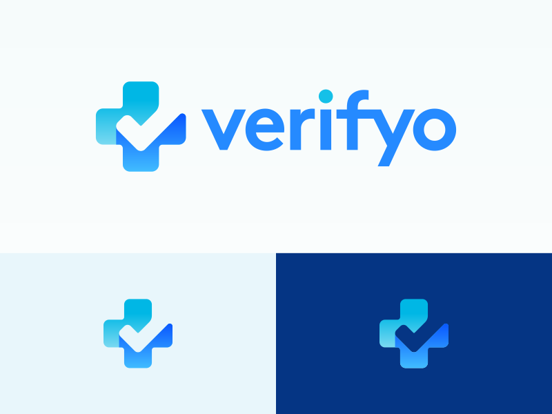 Verifyo Logo Design blue business cards stationery payment verify checkmark check cross plus ui negative space clever icons mark branding brand identity design icon logo