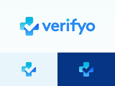 Verifyo Logo Design blue business cards stationery payment verify checkmark check cross plus ui negative space clever icons mark branding brand identity design icon logo