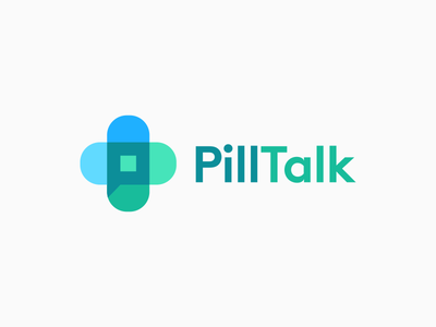 Pill Talk loog lgoo lgo chat hospital medicine p health bandage cross negative space clever monogram icons mark branding brand identity design icon logo pill