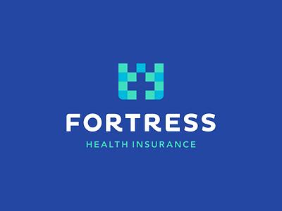 Fortress Health Insurance hospital digital medical medicine life health tower castle security insurance cross negative space icons mark branding brand identity design icon logo