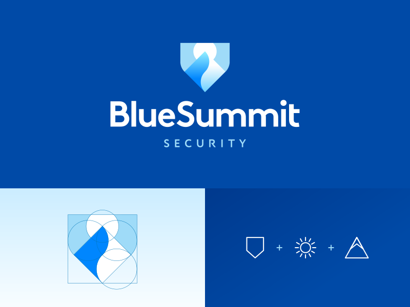 Blue Summit Security sky river snow ice logo graphic design designer mountain sun landscape negative space brand branding identity business cards stationery security insurance finance blue cyan cold shield crest emblem icon icons symbol path way road