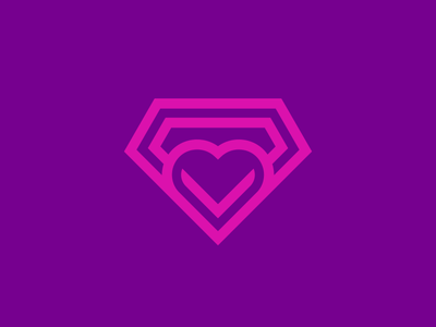 Diamond Heart emblem crest shield business cards stationery jewel jewelry purple pink magenta love date dating diamond heart ring icon icons symbol brand branding identity graphic design designer logo