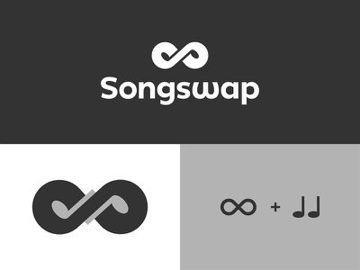 Songswap Logo Construction s monogram infinity music musical notes negative space clever smart modern finance security insurance digital apps phone app application mobile business cards stationery icon icons symbol brand branding identity graphic design designer logo