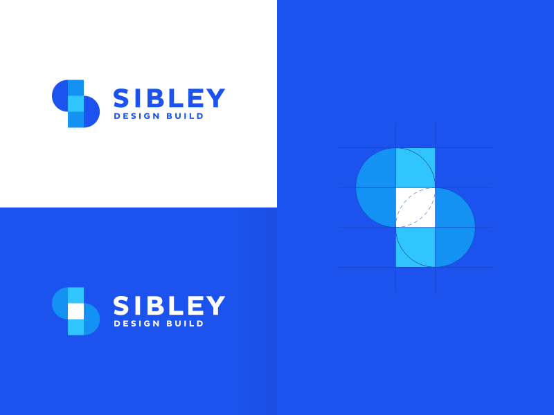 Sibley Design Build architect architecture contemporary home house event events sports mark logomark brandmark digital app apps clever smart modern blue s monogram finance insurance security icon icons symbol geometric geometry grid construction build building business cards stationery brand branding identity graphic design designer logo