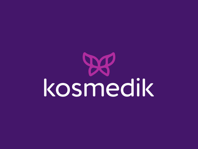 Kosmedik startup marketing tech mobile phone logotype digital app application minimalism minimalistic simple insurance finance security modern smart clever butterfly wings nature plastic surgery beauty cosmetic cosmetics medic icon icons symbol business cards stationery brand branding identity graphic design designer logo