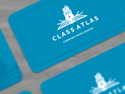Class Atlas Business Cards logo icon icons design mark ship pen book paper sheet page pages blue nautical marine knowledge guide identity branding designer class atlas goal business cards water ocean sea drop travels