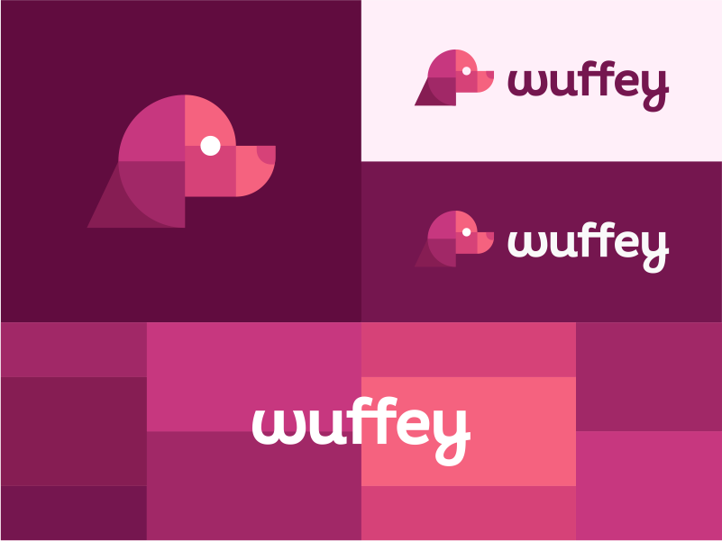 Wuffey logo brand branding identity icon icons symbol dog nature animal animals head cat veterinary veterinarian vet business cards stationery sign modern vibrant digital clever smart geometry geometric security finance insurance tech fintech crypto blockchain cryptocurrency events startup startups mvp app apps mobile social character mascot pet pets