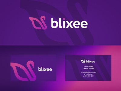 Blixee logo branding graphic design designer brand identity design business cards stationery swan nature animal animals wings bird beauty plastic surgeon abstract vibrant modern digital gradient color colors colorful icon icons symbol mobile app apps cosmetic cosmetics surgery minimalism minimalistic simple smart clever startup