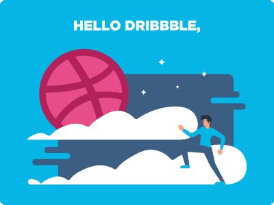 Hello there Dribbble, running man illustration hello dribbble entering dribbble nights watch debut