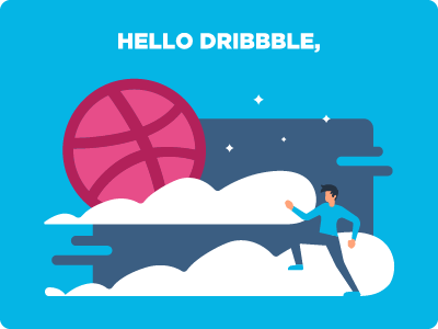 Hello there Dribbble, running man illustration hello dribbble entering dribbble nights watch debut