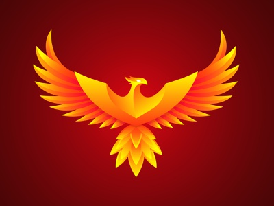 Phoenix logo fire orange phoenix art bird logotype phoenix logo vector logo illustration design