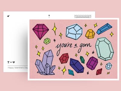 You're a gem! hellosign sparkles texture illustration design oakland postcard valentines crystals gems