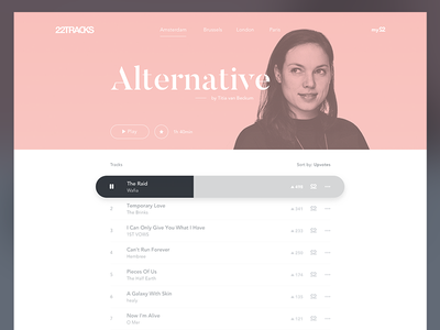 22tracks Redesign interface player minimal clean 22tracks music redesign web website ux ui design