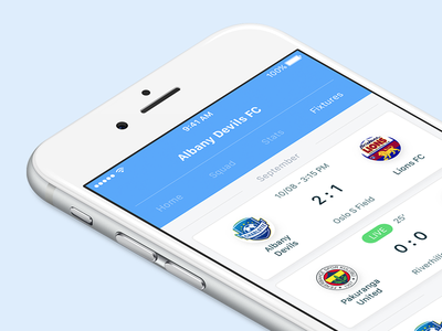 Fixtures ⚽️ interface apple iphone design flat blue ux ios ui football soccer fixtures