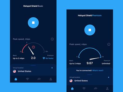 Hotspot Shield VPN — Connection Speed on iOS menu navbar bottom stop location virtual connection app mobile dashboard speedometer