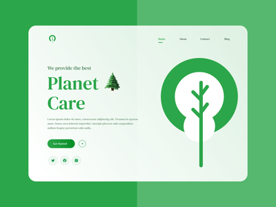 Planet Care Landing Page Design illustration ui ux minimal icon logo brand identity branding ecommerce product landing page design website design landingpage