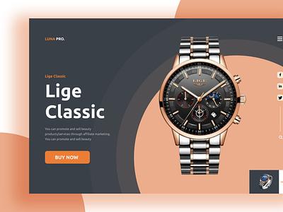 Watch Landing Page Design eco product ui ux brand identity branding minimal landing page web landingpage
