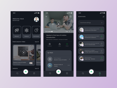 eLearning App branding minimal design ux ui product learning platform share video learning management system mobile app app learn learning app