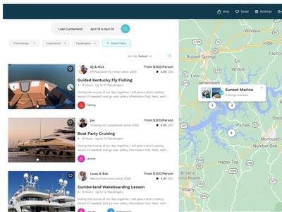 Boat experience search results rent listing map results search desktop airbnb boat innovatemap ux ui design