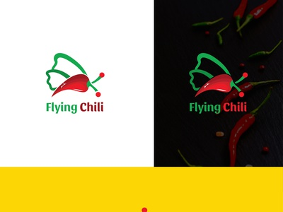 Flying Chili logo design illustrator artistic icon typography lettering branding brand vector minimal logo