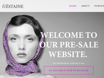 Éstaine Homepage website fashion responsive