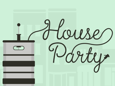 House Party illustration party beer keg