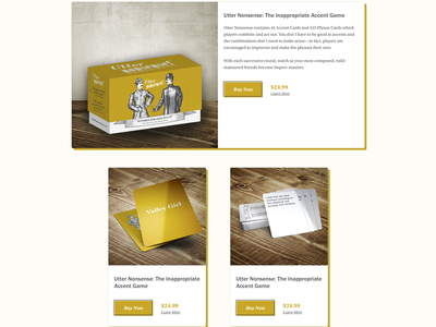 Product Display Cards packaging game responsive web design web website
