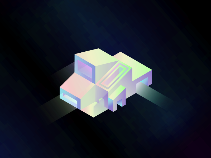 This is the House that Neon Jesus Built neon holograph illustrator architecture isometric