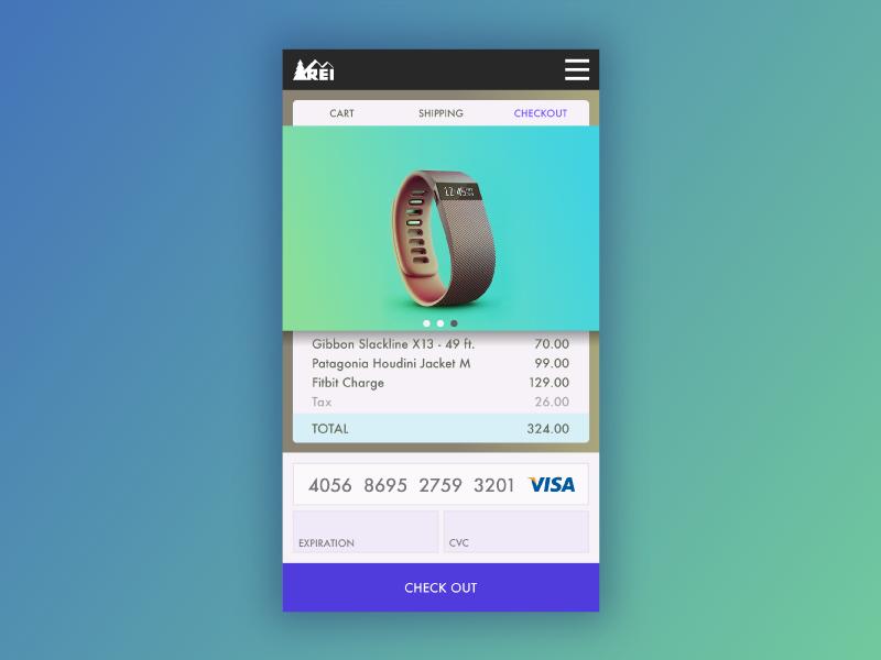 REI shopping app checkout screen 2 material iphone dailyui ux app ui illustrator