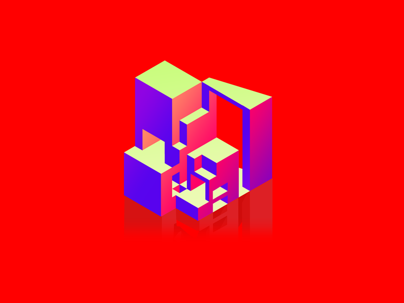 House in neon on red isometric architecture illustrator holograph neon