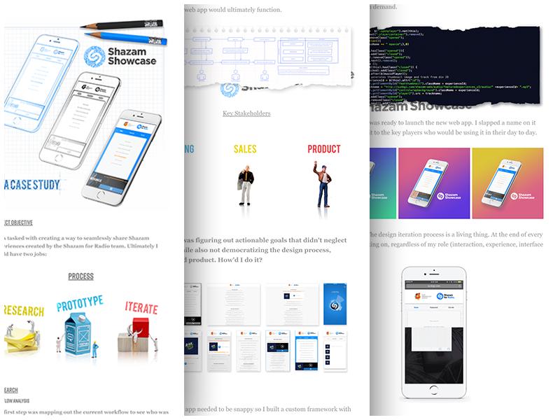 Shazam Showcase Case Study code iphone interaction experience ux ui illustration photoshop case study