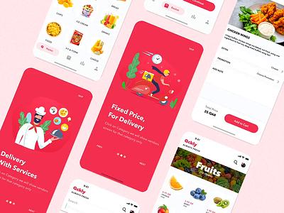Qckly Shopping Mobile App restaurant groceries grocery iphone mobile ios app design ux ui arabic arab qatar