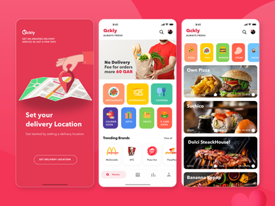 Qckly Shopping Mobile App food delivery restaurant courier supermarket market shopping qatar arab ios app design ux ui