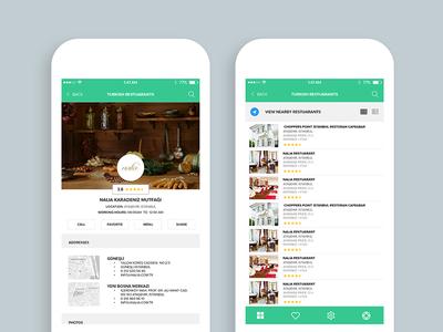 Restaurant Mobile App (Restaurant screen & List view)