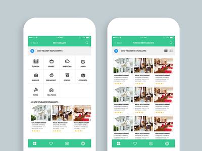 Restaurant Mobile App (categories screen & grid view)