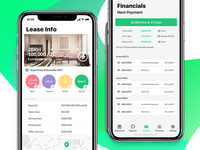 Residence mobile app (Leases info, Financial screens)