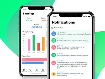 Residence mobile app (Earnings, Notifications) screens