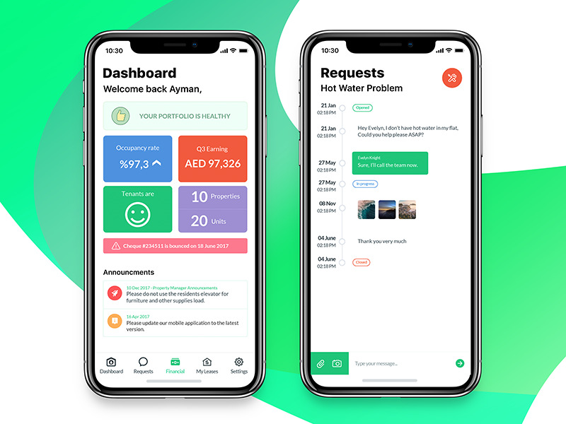 Residence mobile app (Dashboard, Requests) x iphone ios11 interface design ux ui app mobile residence