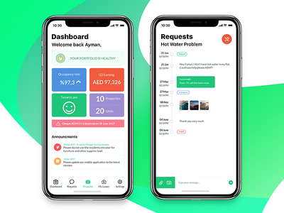 Residence mobile app (Dashboard, Requests)