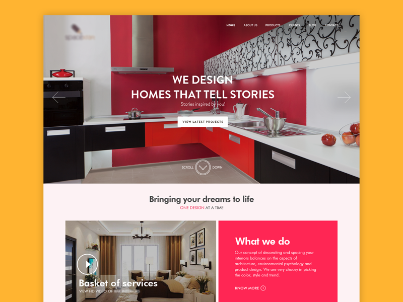 Interior Design company website by vishal jerome on Dribbble