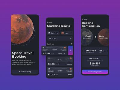 Space Travel Booking App Design travelappdesign mobileappdesign traveltospace ticketsforspace mobileappuiux spacetravelling uiux app ui ux design