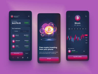 Crypto Investing App Design appdesignuiux bitcoinuiux ewalletappui wallet trading bitcoin investment cryptomobileappdesign cryptoappui crypto appui uiux app ui ux design