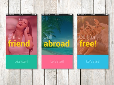 Welcome Screens Concept summer vacation registration app welcome screens