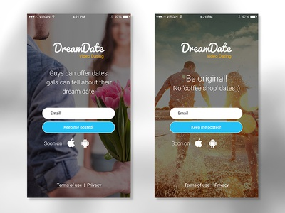 DreamDate landing page  registration coming soon welcome mobile landing page