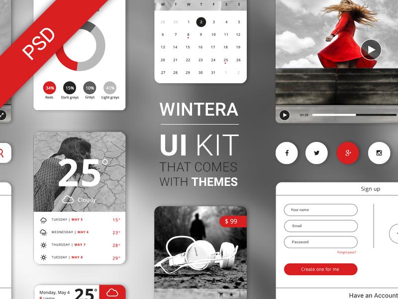 Free UI Starter Kit – Wintera theme ui kit starter psd free download wintera winter