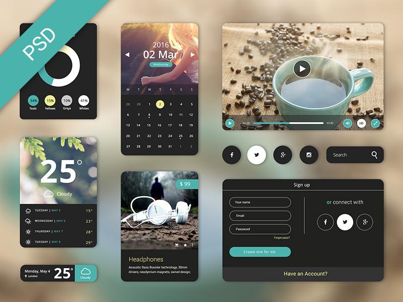 Free UI Starter Kit – Creama theme widget ui kit psd free download cream