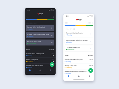Toggl | iOS app light & dark mode dark theme dark mode mobile app ios toggl ux ui