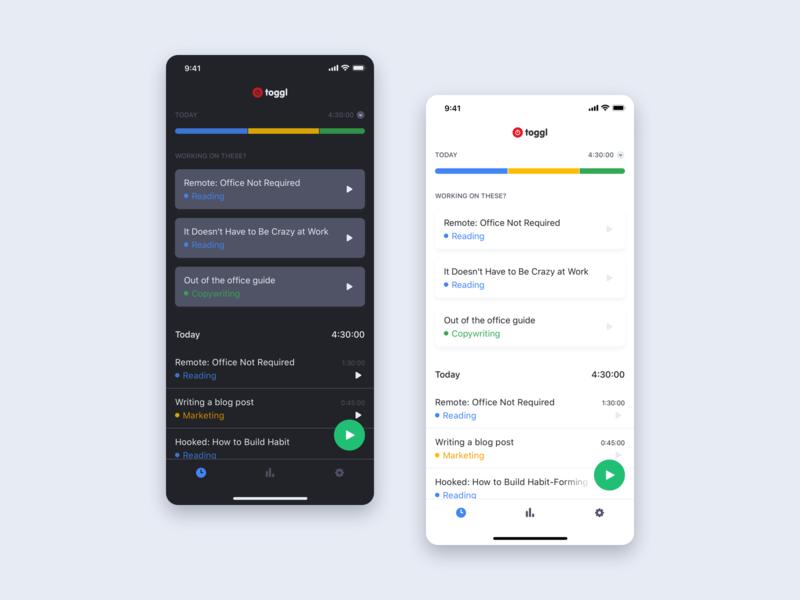 Toggl | iOS app light & dark mode dark theme dark mode mobile app ios toggl ux ui