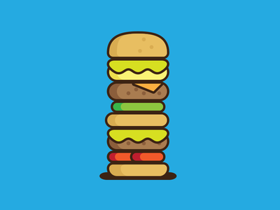 Burger meat bread vegetables illustration flat icon burger hamburger